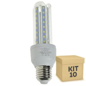 Kit 10 Lâmpada LED Milho 3U E27 9W Branco Frio | Inmetro