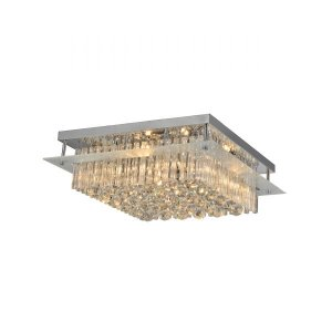Lustre Plafon LED 52 x 18 x 52 cm G9 Quadrada Esferas Cristal