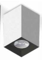 Luminária Plafon Tower GU10 Quadrado Branco Recuo Preto