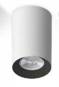 Luminária Plafon Tower GU10 Redondo Branco Recuo Preto