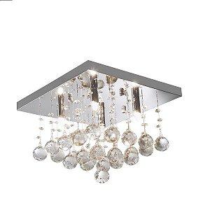 Lustre de Cristal Cascata K9 Plafon Quadrado 34x24