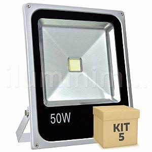 Kit 5 Refletor Holofote LED 50w Branco Frio