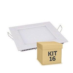 Kit 16 Luminária Plafon 12w LED Embutir Branco Frio