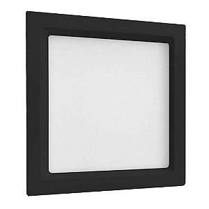 Luminária Plafon 20W LED Embutir Recuado Quadrado Branco Frio Preto