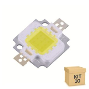 Kit 10 Chip de Refletor LED 10w Branco Frio - Reposição