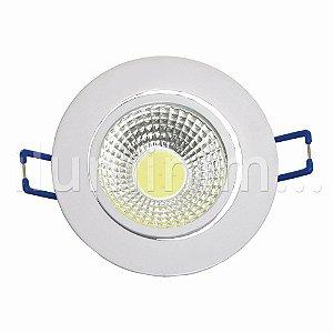 Spot LED 3W COB Embutir Redondo Branco Frio Base Branca