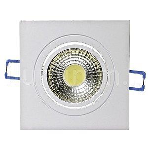Spot LED 3W COB Embutir Quadrado Branco Frio Base Branca