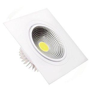 Spot LED 7W COB Embutir Quadrado Branco Frio Base Branca