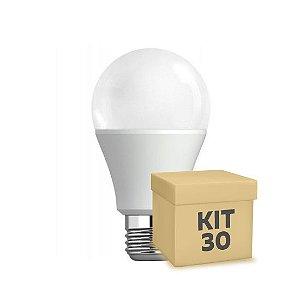 Kit 30 Lâmpada Bulbo LED A60 7W Bivolt Branca | Amarela