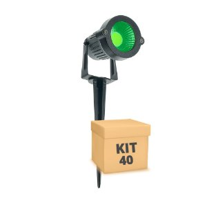Kit 40 Espeto de Jardim LED 3w Verde