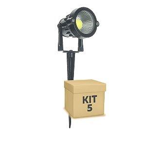 Kit 5 Espeto de Jardim LED 5w Branco Frio