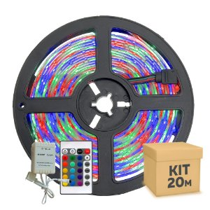 Fita Led RGB Colorida 5050 20 metros com Fonte/Carregador - À prova d'água