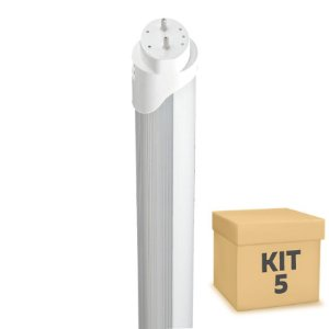 Kit 5 Lampada LED Tubular HO 36w 2,40m T8 Branco Frio | Inmetro