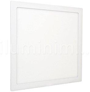 Luminária Plafon 40x40 36W LED Embutir Branco Quente Borda Branca