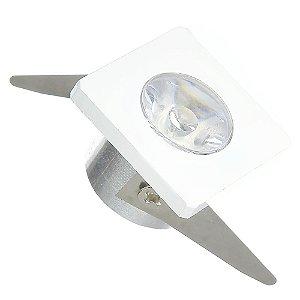 Spot LED COB 1W Quadrado Embutir Branco Quente
