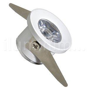 Spot LED COB 1W Redondo Embutir Branco Quente