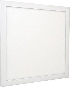 Luminária Plafon 40x40 36W LED Embutir Branco Frio Borda Branca