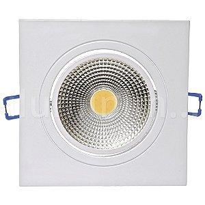 Spot LED COB 5W Quadrado Embutir Direcionável Branco Quente