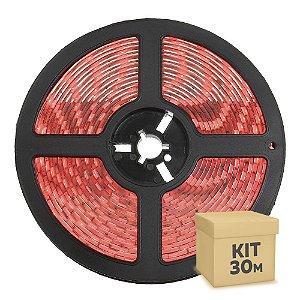 Fita LED Vermelha 5050 30 metros IP65 com Fonte