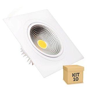 Kit 10 Spot LED 5W COB Embutir Quadrado Branco Frio Base Branca