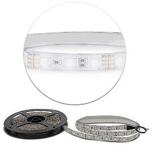 Fita LED 3528 Branca Fria - rolo 5m - À prova d'água - 24W