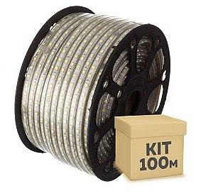 Fita LED Branco Quente 5050 100 metros 110V Dimerizável IP65