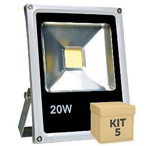 Kit 5 Refletor Holofote LED 20w Branco Frio