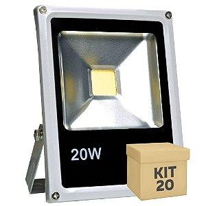 Kit 20 Refletor Holofote LED 20w Branco Frio