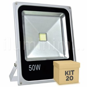 Kit 20 Refletor Holofote LED 50w Branco Frio