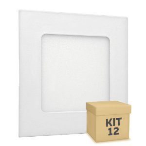 Kit 12 Luminária Plafon LED 6w Embutir Branco Frio
