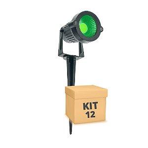 Kit 12 Espeto de Jardim LED 3w Verde