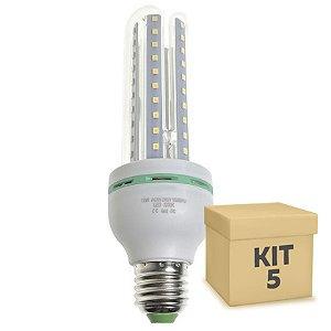 Kit 5 Lâmpada LED Milho 3U E27 12W Branco Frio | Inmetro
