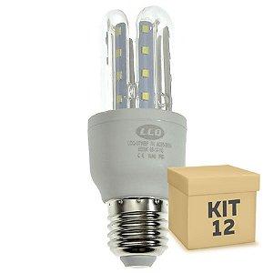 Kit 12 Lâmpada LED Milho 3U E27 7W Branco Frio | Inmetro
