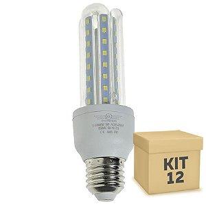 Kit 12 Lampada LED 9W E27 3U Branco Frio | Inmetro