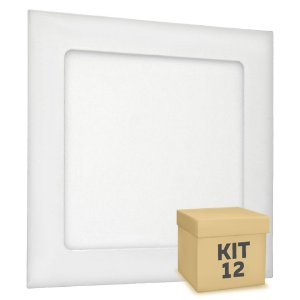 Kit 12 Luminária Plafon LED 12W Embutir Branco Frio