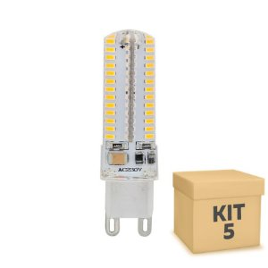 Kit 5 Lampada LED Halopin G9 5w Branca|Amarela 110V | Inmetro