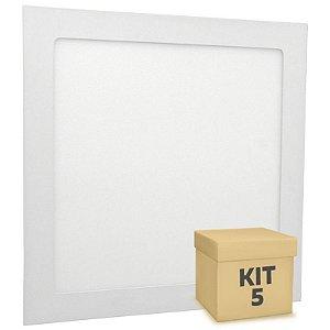 Kit 5 Luminária Plafon LED 18w Embutir Branco Quente