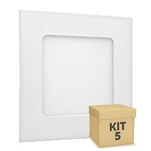 Kit 5 Luminária Plafon LED 6w Embutir Branco Quente