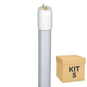 Kit 5 Lampada LED Tubular 9w 60cm T8 Branco Quente | Inmetro