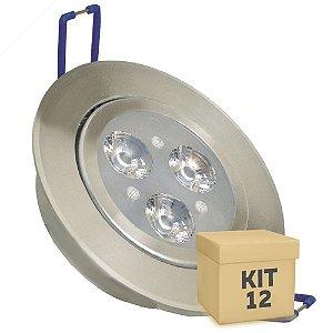 Kit 12 Spot Dicróica 3w LED Direcionável Corpo Aluminio
