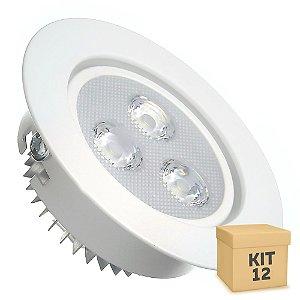 Kit 12 Spot Dicróica 3w LED Direcionável Corpo Branco
