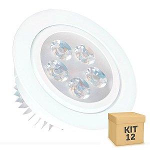 Kit 12 Spot Dicróica 5w LED Direcionável Corpo Branco