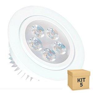 Kit 5 Spot Dicróica 5w LED Direcionável Corpo Branco