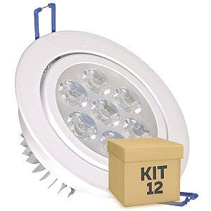 Kit 12 Spot Dicróica 7w LED Direcionável Corpo Branco