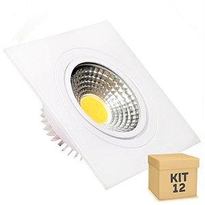 Kit 12 Spot LED 3W COB Embutir Quadrado Branco Frio Base Branca