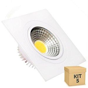 Kit 5 Spot LED 3W COB Embutir Quadrado Branco Frio Base Branca