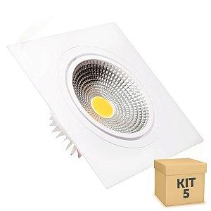 Kit 5 Spot LED 5W COB Embutir Quadrado Branco Frio Base Branca