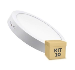 Kit 10 Luminária Plafon 25w LED Sobrepor Branco Frio