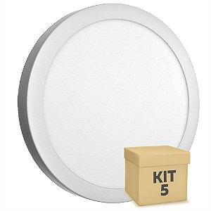 Kit 5 Luminária Plafon 25w LED Sobrepor Branco Quente