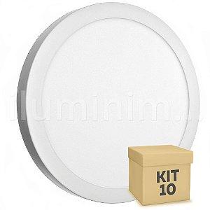 Kit 10 Luminária Plafon 25w LED Sobrepor Branco Quente